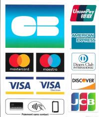 CB, Visa, Mastercard, Amex, Union Pay, Diner Club, Discover