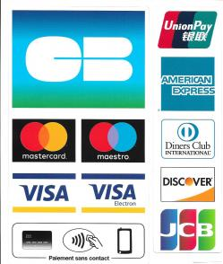 CB, Visa, Mastercard, Amex, Union Pay, Diner Club, Discover